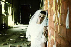 In thought (modulationmike) Tags: wedding abandoned girl pose nikon grafitti dress portraiture rubble d800