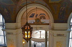 Entry To Elegance (MPnormaleye) Tags: city nyc windows urban classic clock museum architecture hall mural gallery arch shadows manhattan chandelier utata marble grille pillars fresco