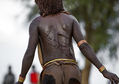 Bashada Tribe Woman With Whip Scars In Her Back During A Bull Jumping Ceremony, Dimeka, Omo Valley, Ethiopia (Eric Lafforgue) Tags: africa people horizontal female outside outdoors photography back community colorful day adult outdoor african traditional performance ceremony culture tribal celebration ornament bracelet blackpeople omovalley tradition ethiopia tribe pastoral ethnic scar anthropology scarification hamar oneperson developingcountry hamer traditionalculture hammar hornofafrica ethnology ethiopian omo eastafrica ceremonial traditionalclothing realpeople blackskin onewomanonly colorpicture threequarterlength redochre turmi africanethnicity pastoralist indigenousculture pastoralism africanculture onlywomen bullleaping bashada snnpr southethiopia bulljumping truepeople colourpicture omorivervalley oneadultonly hamerbenaworeda ethiopianethnicity hamerbena ethio1402763