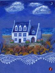 Bretagne (bornschein) Tags: blue sea france watercolor painting paper bretagne breizh