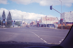 Intersection (hazro83) Tags: road street trafficlights building architecture 35mm intersection olympustrip35 toowoomba expiredfilm fuji400superia