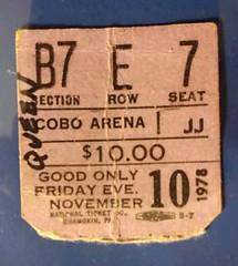 Vintage 1978 Queen Concert Stub Cobo (gregg_koenig) Tags: music rock vintage concert ticket queen 70s freddie 1978 1970s stub cobo