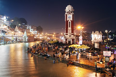 Haridwar at night (alfieianni.com) Tags: city people india tower clock monument night asia long exposure tradition bathing ganga ganges pilgrims haridwar
