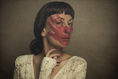the importance of social rituals (elle.hanley) Tags: red portrait woman face self blood paint blooded aristocracy socialrituals texturebylesbrumes vivadeva ladymisselle ellehanleycom