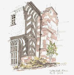 Sutton Hall (jamesdyson) Tags: stone pencil hall sketch cheshire render watercolour halftimbered macclesfield 17c timberframe suttonhall 19c lordlucan