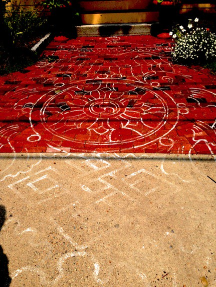 "This walkway and painted mandala were especially made for His Holiness the Dalai Lama's visit in 2012. <a href=""http://pluralism.org"" rel=""nofollow"">pluralism.org</a>"