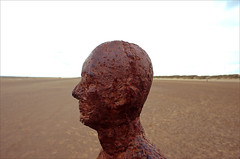 another head (Ron Layters) Tags: anotherplace sculpure anthonygormley head castiron modernsculpture thefiguresarereplicasoftheartistsownbody crosbybeach figure iron beach seaside sea coast crosby liverpool england cheshire unitedkingdom slidefilmthenscanned slide transparency fujichrome velvia leica r6 leicar6 ronlayters