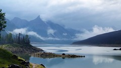 Moody Medicine Lake (Patricia Henschen) Tags: canada alberta parks parcs nationalparks jasper lake clouds medicinelake cloudy overcast pathscaminhos roadside pulloff mountains forest jaspernationalpark nationalpark rocky rockies northern canadian