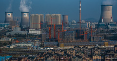 2016 - China - Hangzhou - Power to the People (Ted's photos - For Me & You) Tags: 2016 china cropped hangzhou nikon nikond750 nikonfx tedsphotos vignetting powerplant coolingtowers constructioncranes industrial towers hangzhouchina steam smokestack