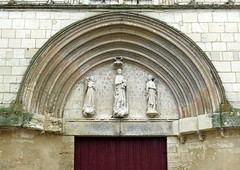 Faded glory: The early 13th C. central west entrance, the Collegiate Church of Notre-Dame (Collgiale Notre-Dame), Le Puy-Notre-Dame, Anjou, France (Hunky Punk) Tags: france west gothic entrance churches arches front medieval notredame doorway middleages collegiate tympanum anjou hunkypunk lepuynotredame spencermeans