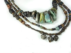 Strata.. (greybirdstudio) Tags: wall ceramic necklace natural jewelry tribal textile earthy hanging ethnic beaded handstitched twine hemp talisman