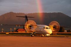 Dornier Do328-100, HB-AES, Sky Work Airlines (www.il-photography.ch) Tags: sunset sun gold golden airport rainbow heaven burn bern airlines berne srk sx dornier brn do328 belp skywork lszb hbaes do328100