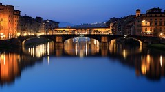 ~Dawn of Ponte Vecchio & Ponte Santa Trinita @ Firenze  () ~ (PS~~) Tags: old city travel bridge italy holiday reflection art monument museum architecture river hall florence scenery europe pretty artist italia gallery cityscape monumento capital religion earlymorning courtyard medieval tourists romance unesco ponte campanile tuscany florencia firenze bluehour piazza uffizi arno toscana michelangelo viewpoint fiore toscane palazzo turismo renaissance historia galleria oldcity magichour cultural sculptor carrara pontevecchio vecchio florentine oldpalace  signoria oldbridge  renacentista patrimoniodelahumanidad emperador romancing   castillero emiliodefabris catedraldeflorencia    binoculaur