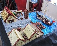A Viking Village (SnowyB52) Tags: houses hall ship village lego quay blacksmith viking smithy