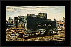 Chama NM C&T RR 97 (the Gallopping Geezer '5.0' million + views....) Tags: old railroad yards mountains newmexico abandoned film train canon rockies decay working scenic historic faded worn restored depot 1997 weathered chama decayed smalltown geezer narrowgauge corel rockiemountains cumbrestoltec