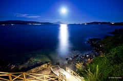 Full moon over mount Athos (Themis Mag) Tags: light sea moon mountain water night mare dusk luna full mount note moonlight noon monte serra montagna piena luce athos chalkidiki agion oros amouliani ammouliani