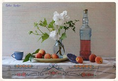 Aesthetic of Peach (Esther Spektor - Thanks for 16+millions views..) Tags: flowers blue red summer stilllife food orange white plant color reflection green art texture cup water glass leaves yellow fruit composition canon grey petals bottle stem ceramics pattern juice linen embroidery availablelight peach july plate stilleben vase esther bouquet bud tablecloth everydaylife tabletop bodegon naturemorte artisticphotography aesthetic naturamorta spektor naturezamorta coth creativephotography artdigital artofimages exoticimage estherspektor