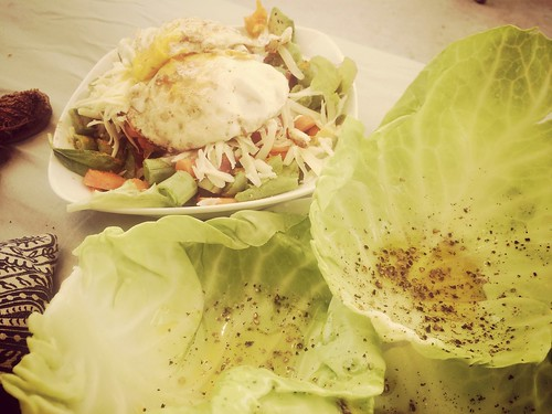 """Bed of fresh vegetable salad with 2 eggs and cabbage leaves for wrapping ... Lots of olive oil. <a style=""""margin-left:10px; font-size:0.8em;"""" href=""""http://www.flickr.com/photos/118228725@N06/14656117706/"""" target=""""_blank"""">@flickr</a>"""