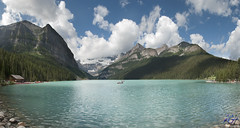 Lake Louise (KGHofSF) Tags: trees summer lake snow canada mountains ice nature water landscape rockies photography hotel photo nationalpark rocks famous peaceful turquiose louise alberta glaciers boating banff spruce cloulds kghofsf