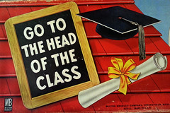 Head of the Class (Calsidyrose) Tags: game illustration vintage children toy design education graphic diploma ephemera font learning chalkboard typeface gameboard miltonbradley gototheheadoftheclass