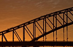 The climb at susnset (loobyloo55) Tags: bridge sunset sydney silhouettes