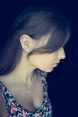 Three (Belcantosoprano) Tags: cute girl lady hair gorgeous profile tan jewelry earrings brunette bangs piercings six triple kirstie selfie jawline cartilage
