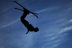 Ski Jump Silhouette2 (alexbazar19) Tags: blue white black ski silhouette clouds skiing skijump