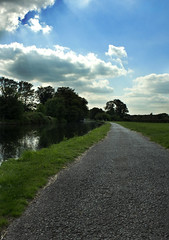 Norwood Green Path. (imran_m) Tags: blue trees sky cloud house green london water grass clouds canon river landscape boats photography eos three canal day cloudy path walk union cottage bridges overcast sunny grand norwood malik southall imran ealing hanwell 600d