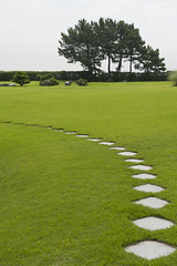 Green grass and diamond shaped stones on Grounds of hotel in Sendai, Japan (jackie weisberg) Tags: tree green grass japan lawn sendai manicured diamondpattern jackieweisberg