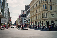 (Monica Forss) Tags: street travel people house building berlin film architecture analog 35mm germany soldier military tourists checkpointcharlie fujisuperia200 minoltaprod20s
