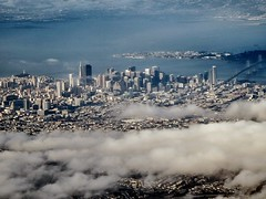 San Francisco fog (kenjet) Tags: sf sanfrancisco city fog bay view aerialview aerial fromabove windowview fromthewindow citybythebay