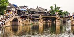 Where bridges meet - Xitang water village (Pic_Joy) Tags: china reflection building water architecture night river boats asia village traditional culture historic xitang  jiangnan   zhejiang        jiashan