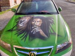 On the Hood (milfodd) Tags: ny art lion september hudson airbrush bobmarley 2014 carhood singlerawhdr