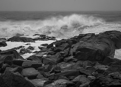 storm surf, Lobster Cove, Monhegan, Maine, Nikon D40, nikon nikkor 55mm f-3.5, 6.28.15 (steve aimone) Tags: ocean sea blackandwhite seascape storm monochrome coast rocks surf waves maine shoreline stormy monochromatic atlanticocean monhegan seacoast monheganisland primelens lobstercove nikond40 nikonprime nikonnikkor55mmf35