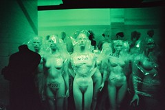Bodies of Evidence (thebadmash) Tags: green film mannequin museum store lomo xpro crossprocessed dummies mannequins fuji faces body wide creepy 400 heads labeled sensia lcw sensia400 bagged lomolcwidevsexpiredfujisensia400shot1600