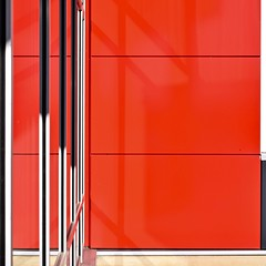 Urban Abstract No 24 (llawsonellis) Tags: outdoors building facade modern modernarchitecture urban urbanabstract abstract crop selection siding steel glass metal red black grey line lines linear square squareformat nikon nikond5300 reflections abstractures