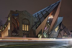 The stunning architecture of the Royal Ontario Museum (beyondhue) Tags: rom royal ontario museum night dark sky architecture crystal beyondhue bloor street glass brick toronto trail light long exposure