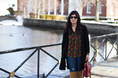 dark floral print blouse, long black cardigan, over the knee boots.jpg (LyddieGal) Tags: black boots brown cardigan coach danielwellington denim fall fashion gap officestyle oldnavy outfit overthekneeboots rayban red style sunglasses thrifted wardrobe watch weekendstyle winter