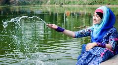 Splash (MashrikFaiyaz) Tags: flickrunitedaward nature natural green blue water pond splash crystal sunlight sunshine sunny light spring nikon d5300 girl lady fashion dress saree glamour gorgeous asia dhaka bangladesh february model experiment photowalk woman smile face cute beautiful hijab eyes