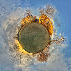 My little world (A.B. Art) Tags: planet kleinplanet littleplanet smallplanet smallworld photoshop imagecompositeeditor ice panorama kugelpanorama postprocessed tonemapped abart starburst911 wiese bäume trees sunset sonnenuntergang wolken clouds