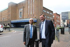 "Stephen Mosley MP with Culture Secretary Sajid Javid MP outside site of Chester's new theatre, cinema and library • <a style=""font-size:0.8em;"" href=""http://www.flickr.com/photos/51035458@N07/14203295380/"" target=""_blank"">View on Flickr</a>"