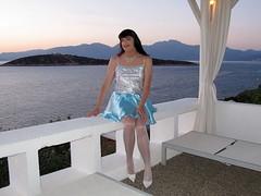 Miss you (Paula Satijn) Tags: blue sea white sexy stockings girl garden happy mediterranean pumps legs feminine joy silk skirt tgirl satin miniskirt gurl silky