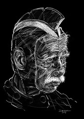 Old hero on black (The Searcher) Tags: seattle old original portrait white black art illustration bar digital pen pencil ink painting book sketch george pub artist comic dragon drawing unique fine super pop derek elderly gift tired hero comicbook superhero relics chatwood poprelics