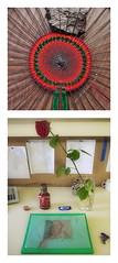 """14.6.2014: Weaving """"Phantom Pain of the Felled Tree 5"""" / At Work: Substituting for an ill colleague - Einspringen """"Die Prsidentinnen"""" (Werner Schwab) - Playing with a Portrait on Transparent Paper - Sanguine Sepia Blei (hedbavny) Tags: vienna red portrait stilllife tree green rot art net wool rose work circle austria stillleben theater outsiderart theatre kunst diary pomegranate warp portrt yarn installation artbrut grn garn arbeit weaving tagebuch baum rinde tapestry krug netz aktion profession handwerk schwab conceptualart milkyway kreis kette zeichnung sanguine blei weft wolle narrenturm tapisserie milchstrasse gefllt beruf schokoriegel souffleur konzeptkunst weben granatapfel souffleuse schus aktionismus prompter schraffur transparentpapier phantomschmerz wernerschwab einspringen hedbavny ingridhedbavny sharedworkingtable substituieren dieprsidentinnen phantompainofthefelledtree5"""
