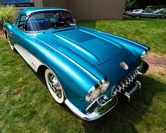 1958 Chevrolet Corvette (hz536n/George Thomas) Tags: summer copyright chevrolet june canon michigan chevy canon5d corvette flint 2014 ef1740mmf4lusm cs5 sloanmuseum sloanmuseumautofair sloan2014
