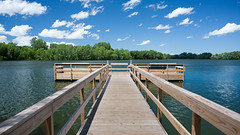 Fishin' Dock (heightsfidelity) Tags: blue summer sky lake green water minnesota clouds zeiss dock wideangle contax wa mn manualfocus distagon 28f28