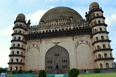 Gol Gumbaz - Marvelous Architecture (Y-O-G-E-S-H) Tags: city blue sky india green architecture four nikon whispering gallery columns historic archaeological survey minar gol bijapur d5100 cityhistoric gumabaz
