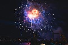 Lake Union Fireworks (Chris Camargo) Tags: seattle blue red vacation sky white holiday washington nikon fireworks tripod american lakeunion fullframe nikkor explosions fx 4thofjuly fourth independenceday ff fireball vr upward bursting slik 2485mm f3545 d700