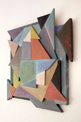 Variations on three squares. (Justin Barrie Kelly) Tags: sculpture geometric triangles abstractart modernart multicoloured abstraction geometrical multicolored sculptural plywood polygons modernist constructivist oilpaint tangram triangular destijl constructivism wallhanging painteffects lowrelief concreteart geometricart sculpturalrelief geometricalart justinkelly destyle justinbkelly justinbarriekelly