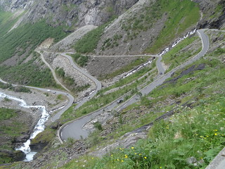 Zig zag roads on Trolls Path Norway.